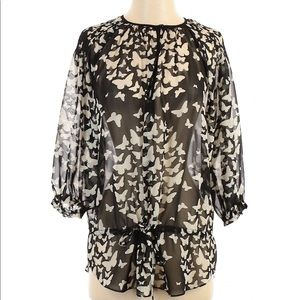 Zara Sheer Butterfly Print Peasant Blouse Size S